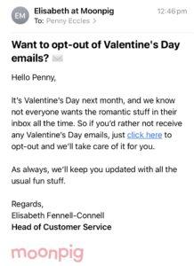 Moonpig Valentines email